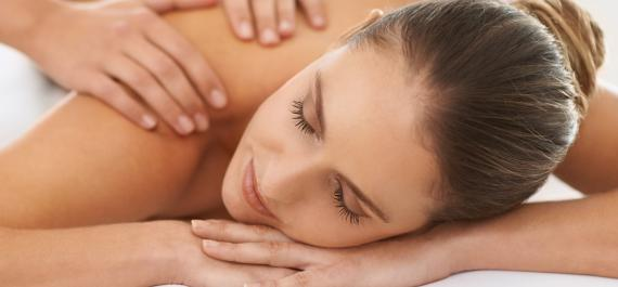 Woman receiving massage services